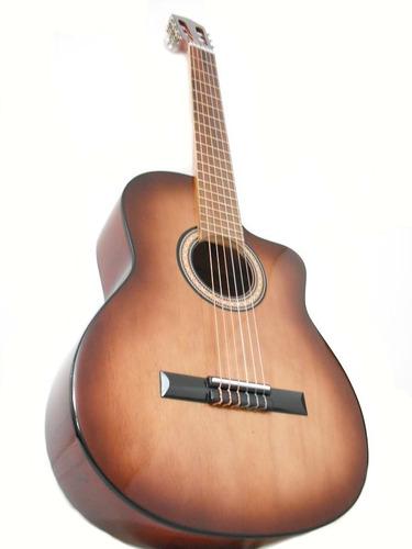 guitarra criolla con corte  + funda + puas d´addario