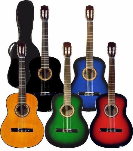 guitarra criolla de niños clasica de estudio + funda y puas
