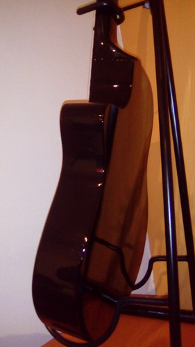 guitarra criolla negra corte media caja funda púas