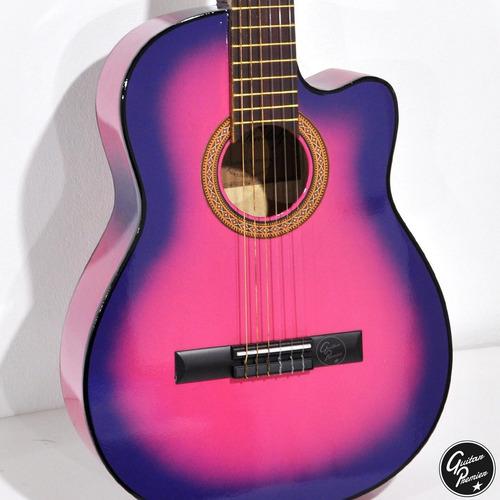 guitarra criolla rosalila rosa niña 4/4 3/4 1/2 + funda pua