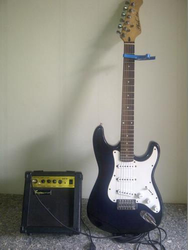 guitarra electrica+amplificador+cable+capo traste