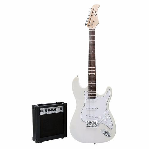 guitarra eléctrica blanca + amplificador 10 watts epic