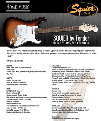 guitarra electrica fender squier bullet stratocaster