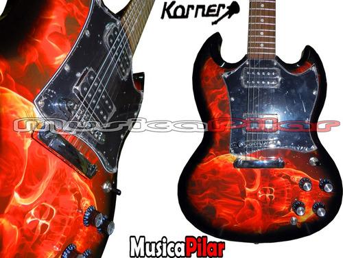 guitarra electrica korner ksg800 calavera cruz musica pilar