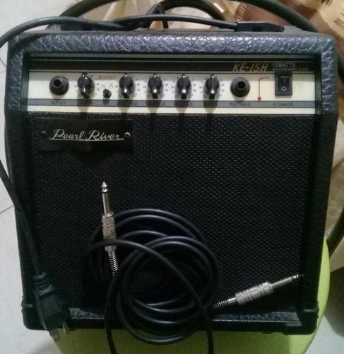 guitarra eléctrica longxing, amp pearl river 15watts, correa