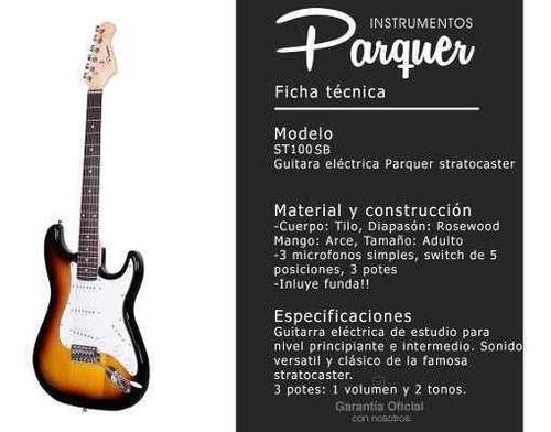 guitarra electrica parquer stratocaster sunburst funda cuota