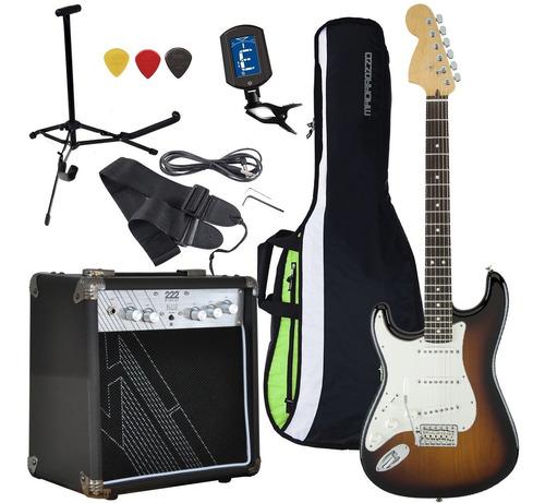 guitarra electrica rock zurdo ampli 10w accesorios completos