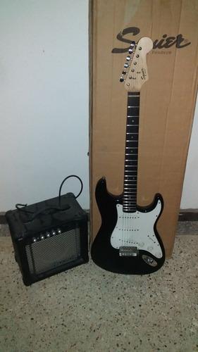 guitarra electrica (squier by fender) y amplificador de 15w!