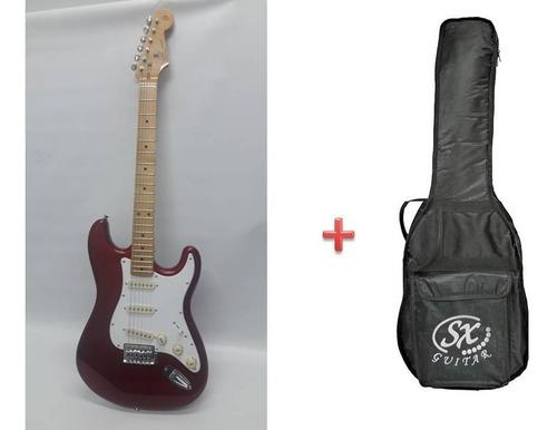 guitarra electrica stratocaster sx fst57 car red + funda