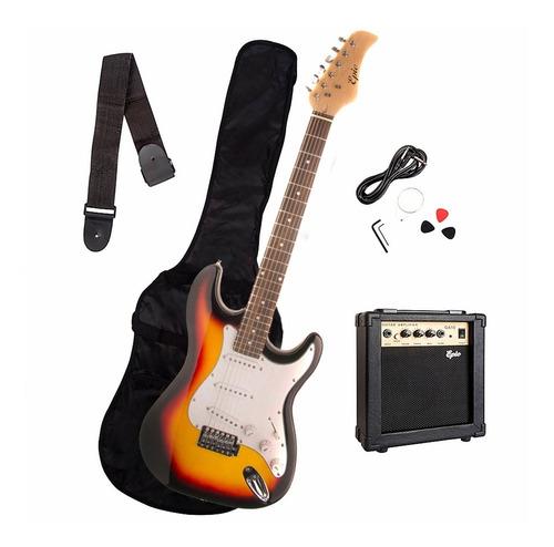 guitarra eléctrica sunburst + amplificador 10 watts epic