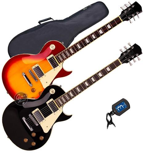 guitarra electrica tipo les paul + funda + afinador + pua
