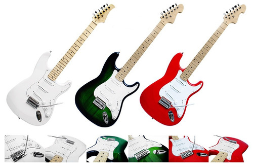 guitarra electrica verde edicion limitada tipo stratocaster.
