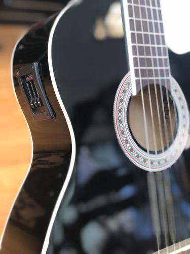 guitarra electroacustica color negro, babilon bc200ceq bk