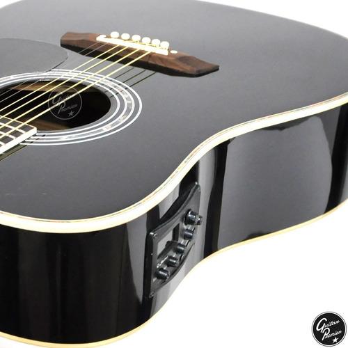 guitarra electroacustica con corte negra eq afinador + funda