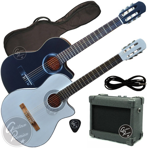 guitarra electroacustica criolla corte satin + ampli + funda