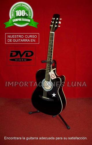 guitarra electroacustica negra sonido potente con accesorios