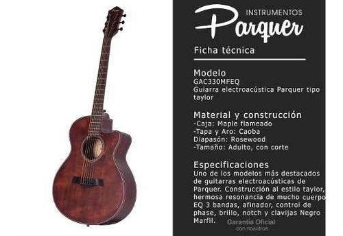 guitarra electroacústica parquer taylor marrón corte funda