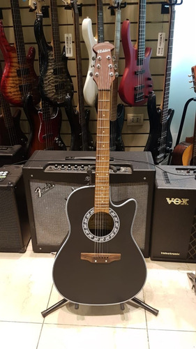 guitarra electroacustica tipo ovation negra cuerdas acero