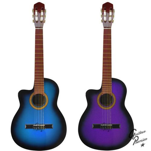 guitarra electroacustica zurdo nylon c/ corte  + funda + pua