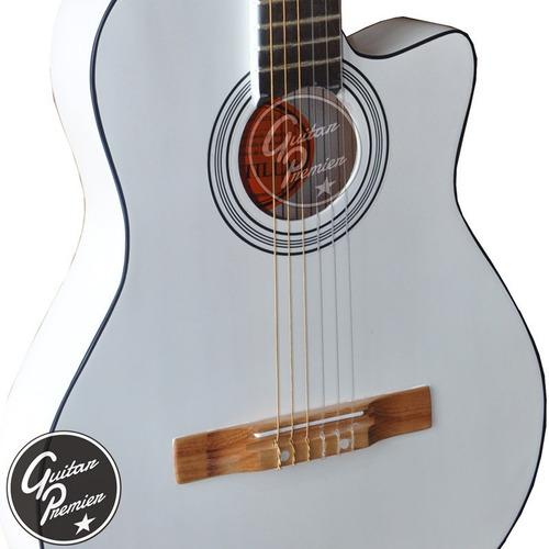guitarra electrocriolla media caja c/c satin + ampli + funda