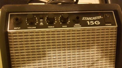 guitarra fender starcaster funda amplificador fender 15g