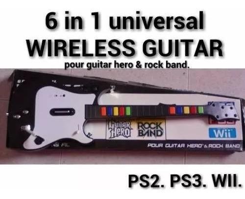 guitarra inalambrica guitar hero rock band ps3, ps2, wii, pc