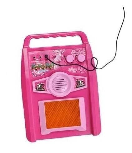 guitarra infantil rocky girl com amplificador microfone rosa