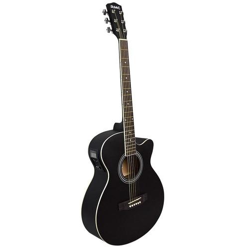 guitarra jumbo electroacustica color negro mate marca rmc
