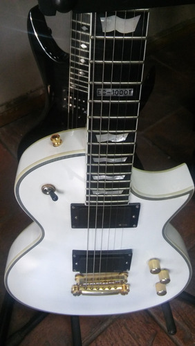 guitarra les paul ltd ec-1000 de luxe blanca invisible music