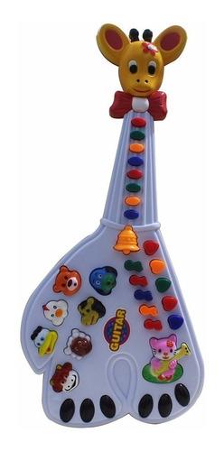 guitarra musical infantil girafa 26 teclas sons e 10 músicas