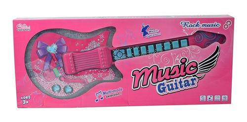 guitarra musical infantil rocky girl rosa menina luz e som