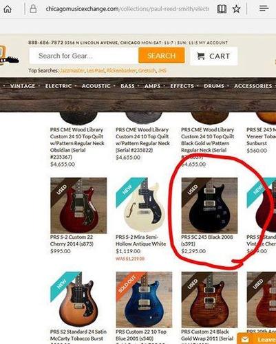 guitarra prs sc245 black