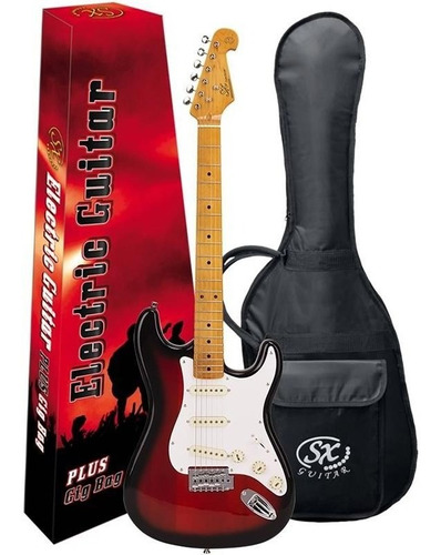 guitarra strato sx sst57 2ts sunburst escala maple + bag top