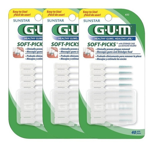 gum sunstar - soft picks (120 unidades) - escova interdental