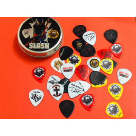 Guns And Roses - Slash - 25 Púas Doble Faz + Lata De Regalo