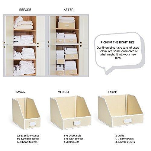 g.u.s. ivory linen closet storage: organize bins for sheets