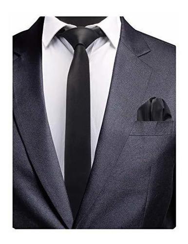 gusleson 24 slim corbata y pañuelo set para hombres solido