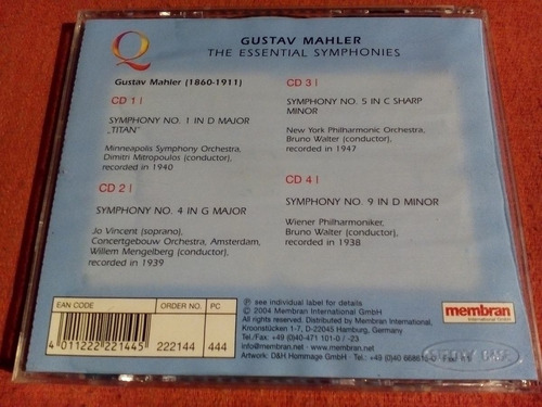 gustav mahler quadromania symphonies 4 cds aleman 2004 mdisk