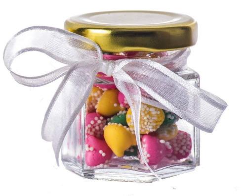 gybest ljp 24 paquete 1.5 onza hexágono vidrio tarros con o