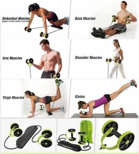 gym bandas y rueda ejercicios multifuncional revoflex xtreme