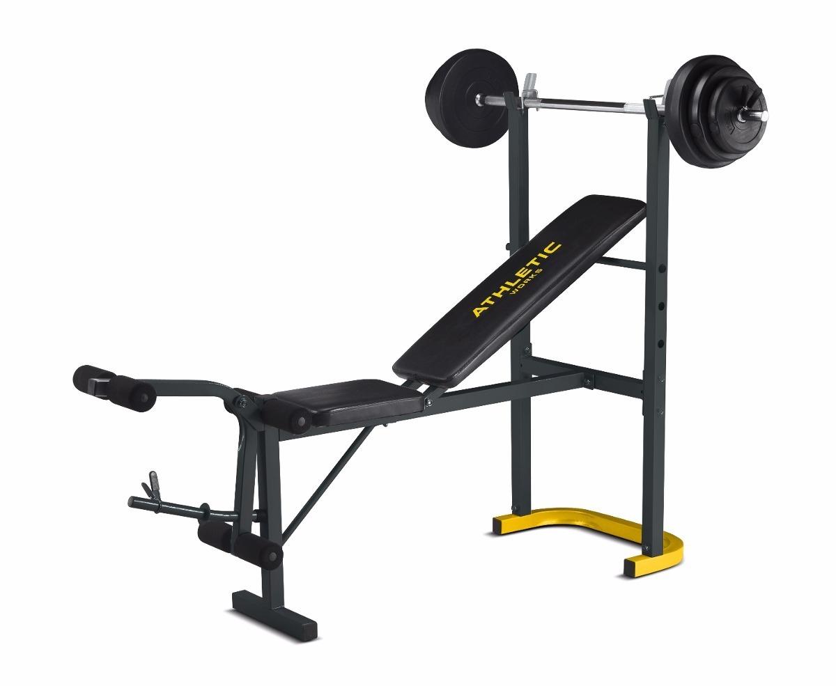 gym centro banco multi ejercicios importado con pesas barra