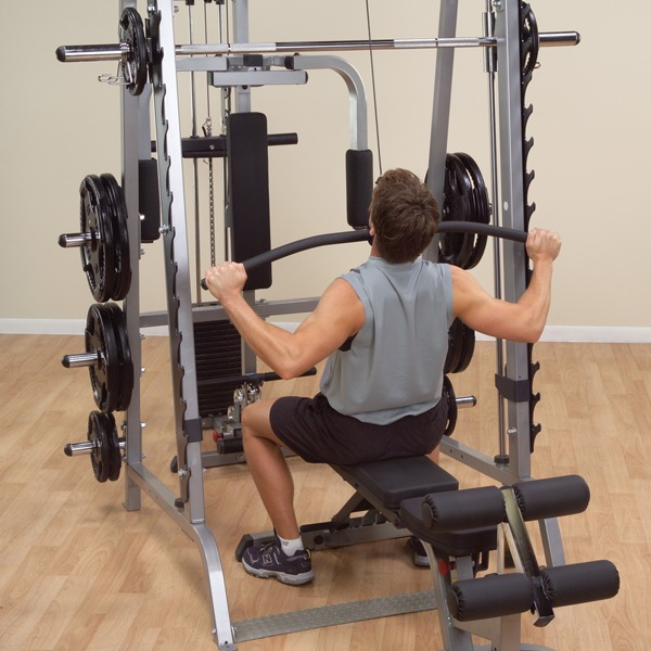 Gym smith machine polea pec deck curl predicador barra for Equipo para gym
