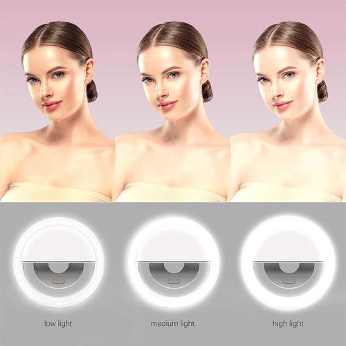 h o y aro de luz led selfie recargable | 3 tonos de luz