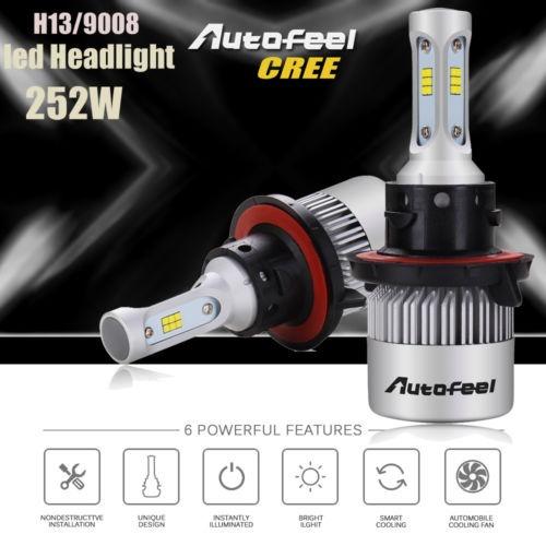h13 9008 252w 25200lm cree led linterna kit hi/low beam bulb