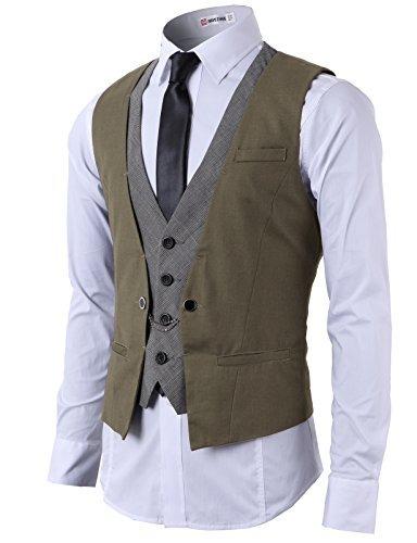 h2h mens fashion business suit chaleco de capas con anillos