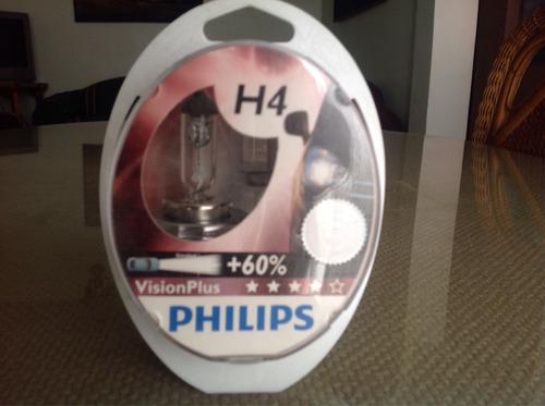 h4 vision plus 12v 60/55w p43t 60% más luz de phillips.