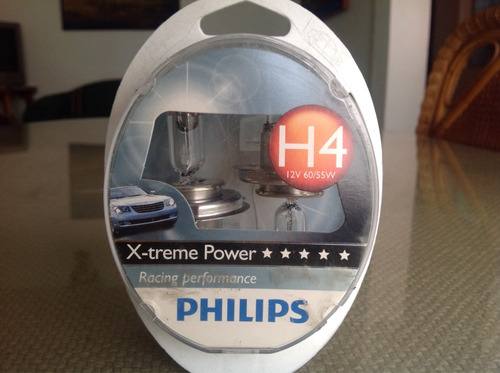 h4 x-tream power de phillips. 12v 60/55w p43t 100% más luz.