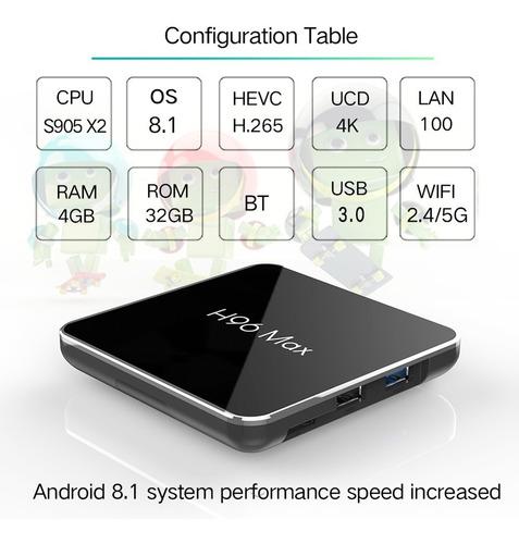 h96 max x2 s905x2 4gb ram 32gb rom android 8.1 tv box hd sma