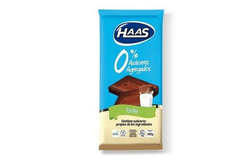 haas tableta 0% azucar + car leche 150 g.