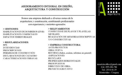 habilitación comercial - bomberos-catastro -bps - arquitecto
